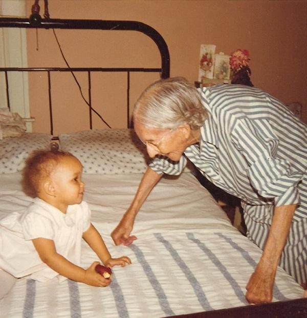 My grandmother, Fannie Turner Graham and my oldest daughter, Jilo. Detroit, 1972.