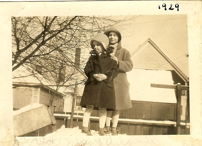 Doris and Mary V in their backyard. Detroit Eastside 1929.