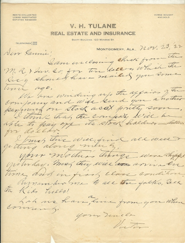 """Letter to Fannie Graham from Victor Tulane."""