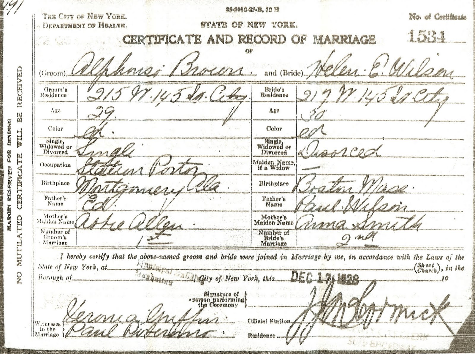 Alphonso Brown Marriage Certificate Finding Eliza