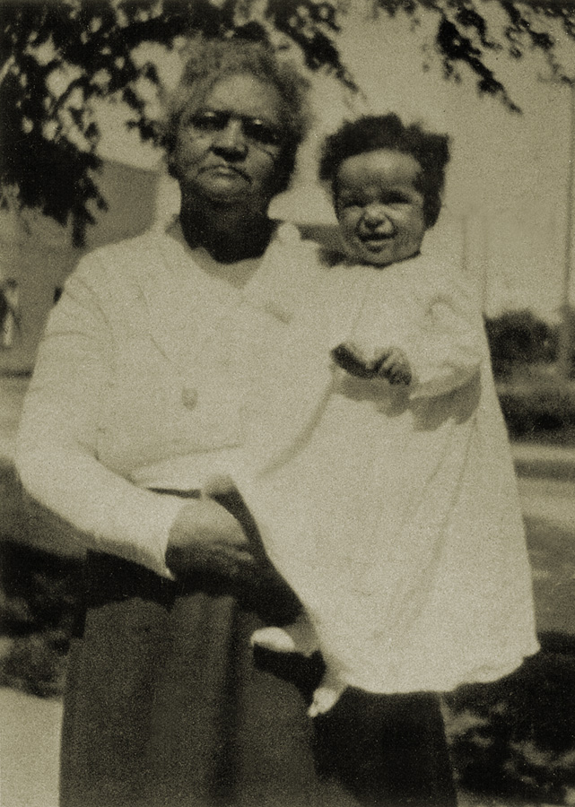 Celia Rice Cleage Sherman with grand daughter Barbara Cleage. About 1921 in Detroit, MI.
