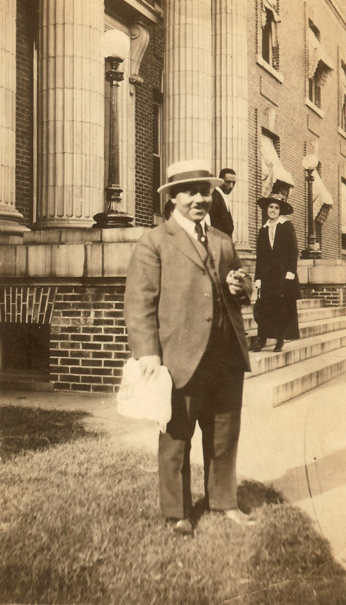 Dr. Gamble in front of Freedman's Hospital. My grandparents on the steps.
