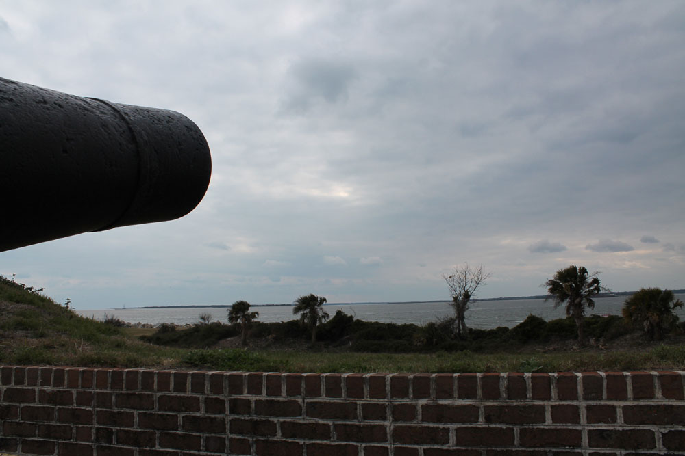 The view of the harbor from Fort Moultrie, South Carolina.
