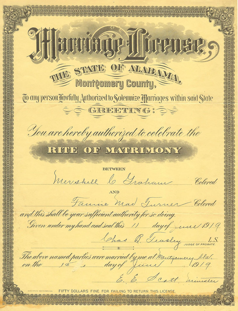 mershell graham and fannie mae turner marriage license