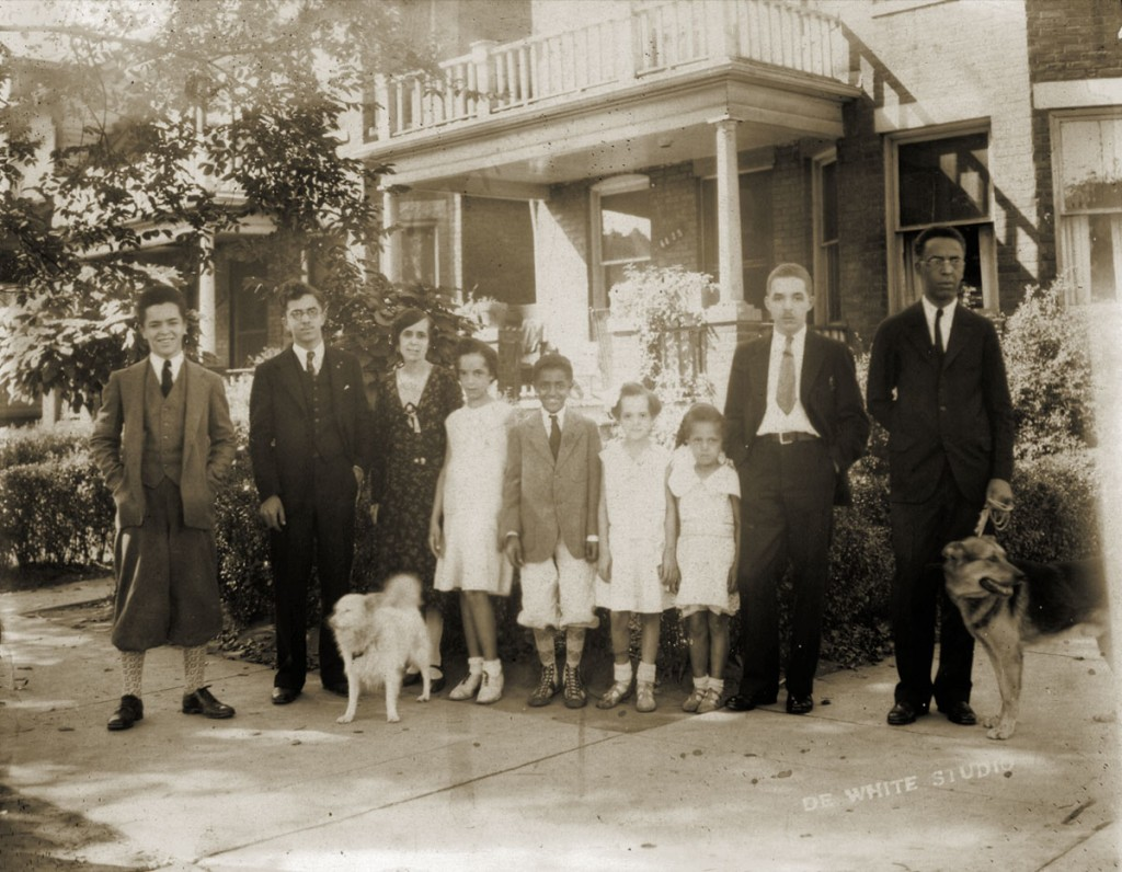 The Cleage family about 1930 in front of their house on Scotten. From L to R Henry, Louis, (My grandmother) Pearl, Barbara, Hugh, Gladys, Anna, Albert Jr (My father) and (My grandfather) Albert Sr.