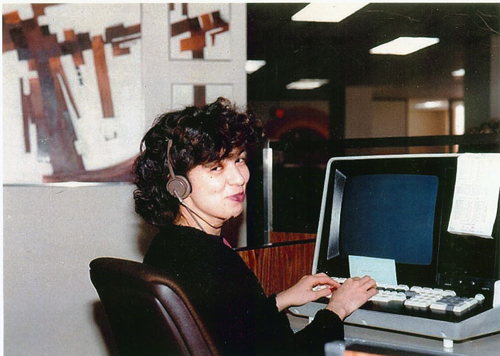 My cousin Marilyn at work.