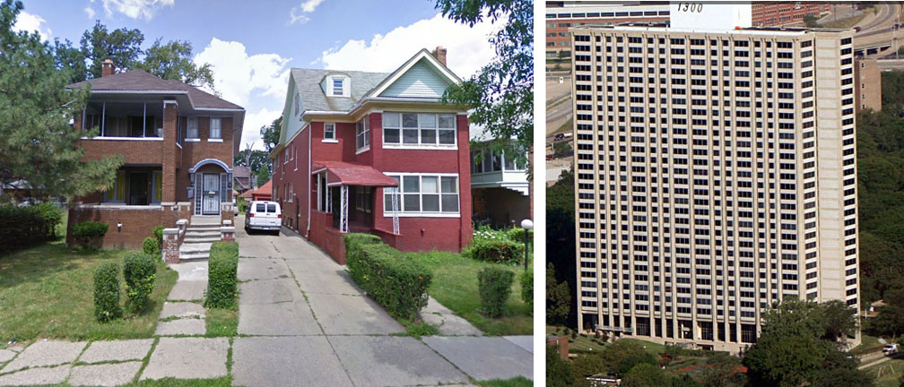 The flat on the left was the one my father lived in. The 12th floor is about half way up.