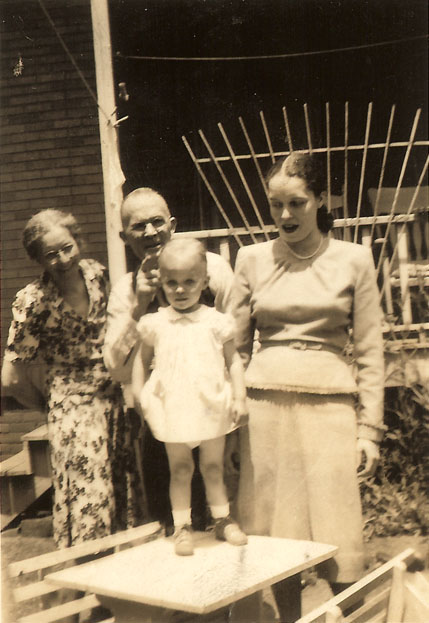 My grandmother Fannie, my grandfather Mershell and my mother Doris. I am standing on the table.