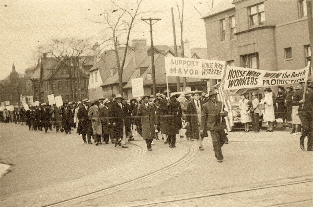 March in Detroit in support of housing for black workers during WW 2 in the Sojourner Truth Housing Project.