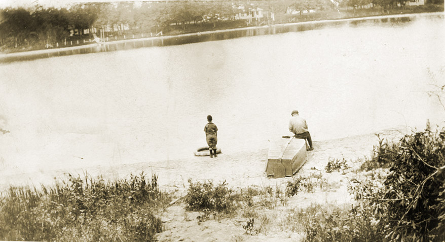 Henry looking across Lake Idlewild. About 1922.