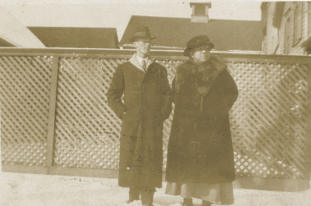 My grandfather Mershell Graham and Emma Topp in the Walkers yard. 1919.