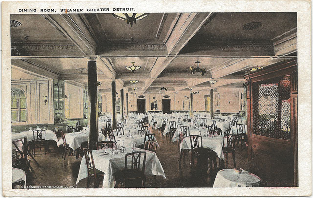 This isn't the dining room of the Eastern States but the City of Detroit was a sister ship so it was probably similar.
