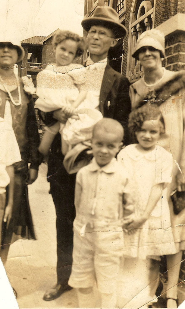 After church about 1927. Mershell holding my mother Doris, Fannie, Mary V. and Mershell Jr.
