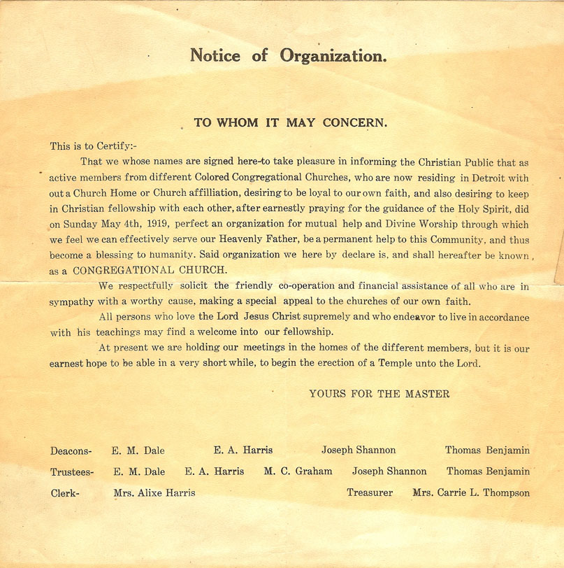 notice of organization.