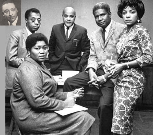 Insert, Louis Lomax, James Baldwin, Louis Lomax, Ossie Davis, Ruby Dee and Odetta called for a boycott of Christmas gifts.