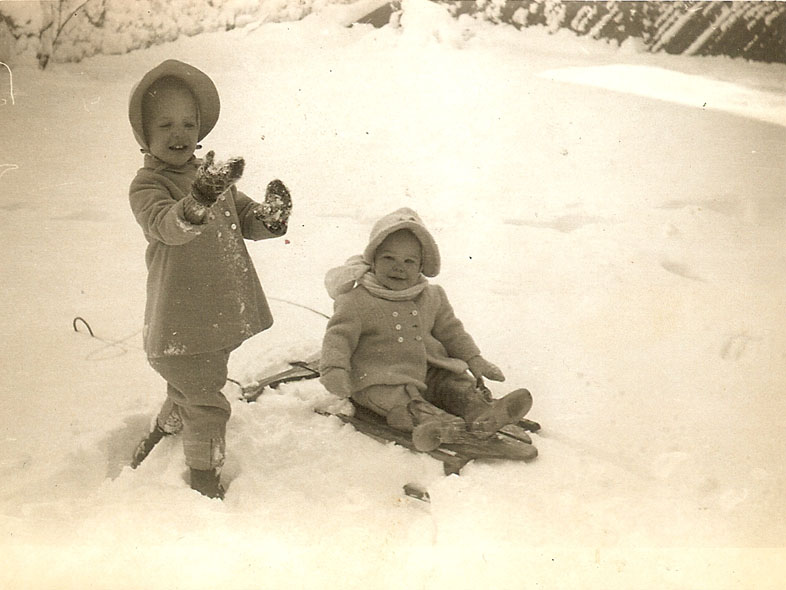 Winter 1949 Kris (me) and Pearl. Springfield, MA