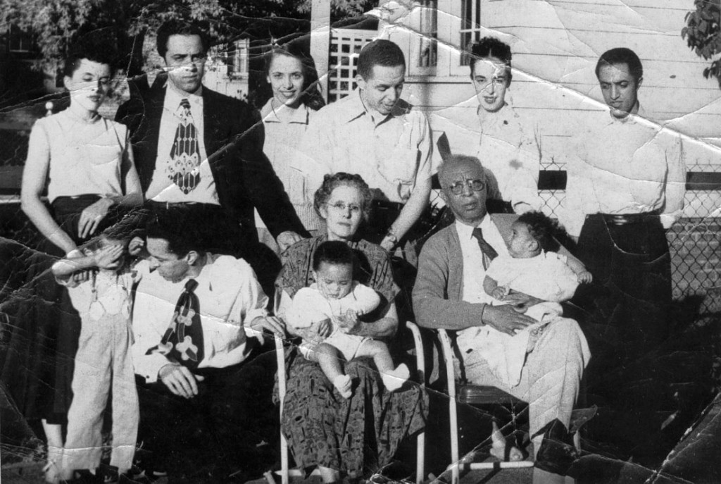 Pearl and Albert with their children and 3 of the grandchildren. My sister and I were at our other grandmothers and the youngest 4 were not yet born. 1951.