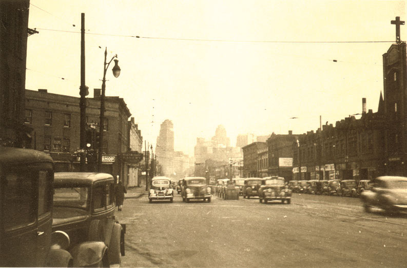 Looking south on Grand River Ave in Detroit toward Downtown. 1940s.