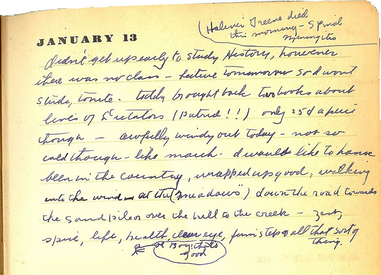Entry from Henry Cleage's diary, 1936.