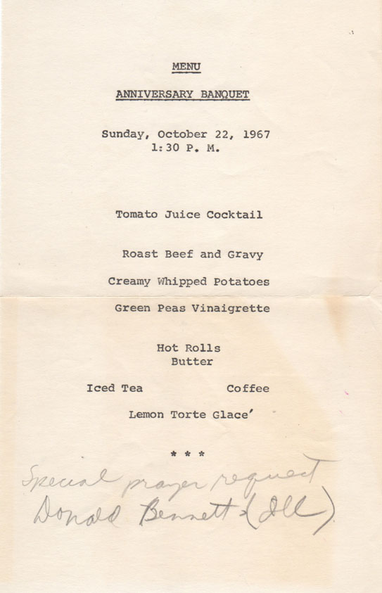 homecoming menu 1967