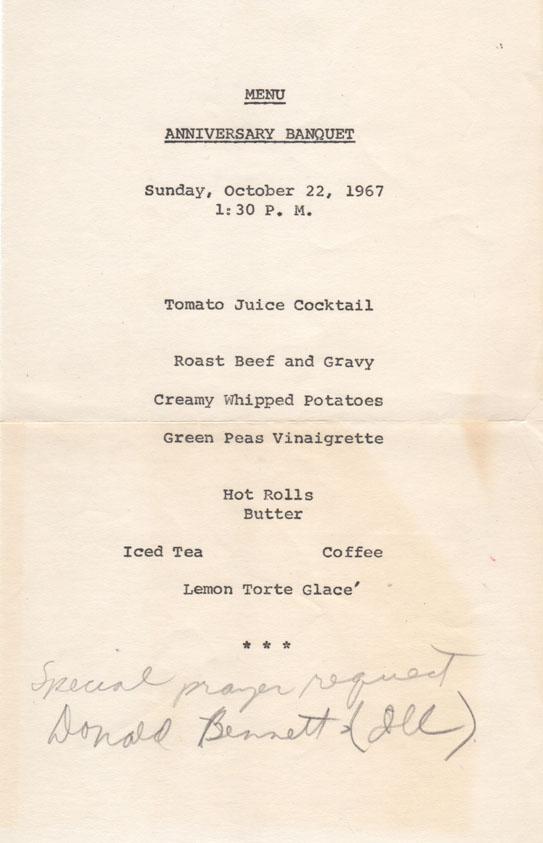 homecoming menu 1967