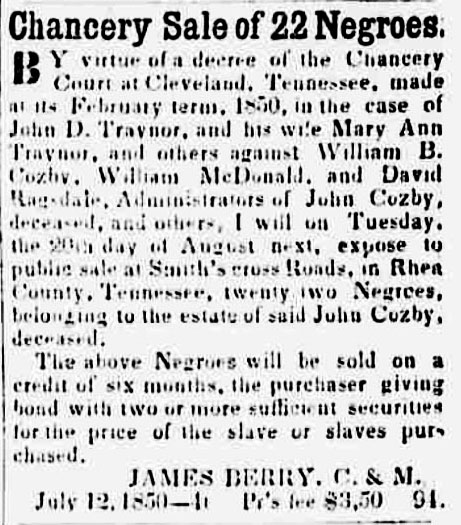 chancery sale of negroes
