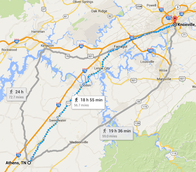 Routes from Athens to Knoxville, distance and time it would take to walk from Google Maps.