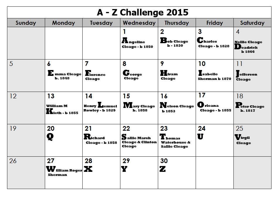 A-Z Calendar 2015