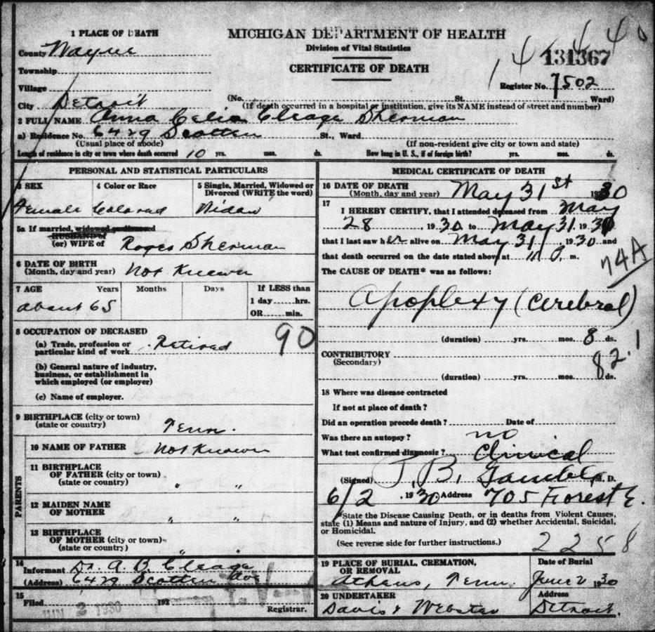 Celia's death certificateonline