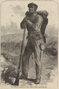 """The Escaped Slave in the Union Army,"" Harper's Weekly, July 2, 1864, p. 428. (Courtesy of the House Divided Project)"