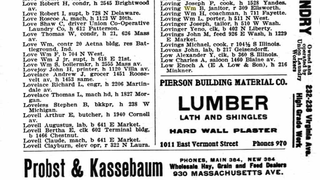 Entry for William B. Loving in the 1906 Indianapolis City Directory. You can see the adds all around the edges.
