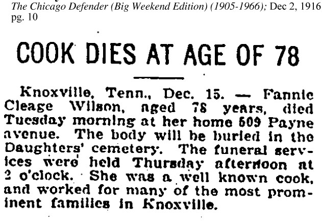 fannie cleage obit