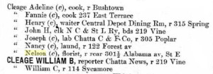 Some of the Athens Cleages in the Chattanooga City Directory. 1902.
