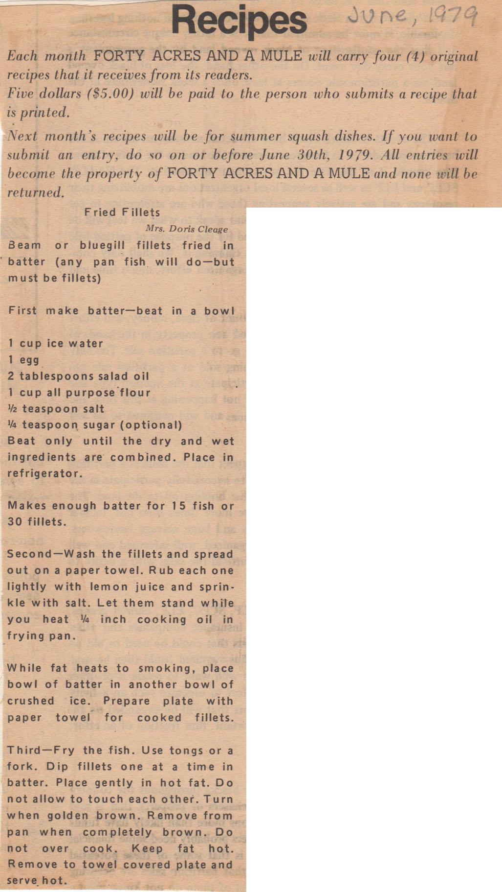 bluegill recipe - doris cleage
