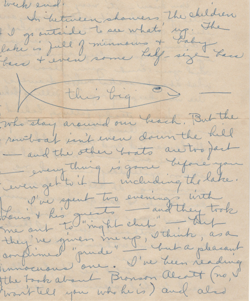 Letter my mother wrote in 1956 from Louis's cottage in Idlewild.