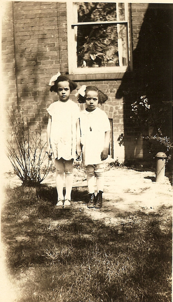 Gladys and Anna Cleage, about 1930 beside their home on Scotten, Detroit.