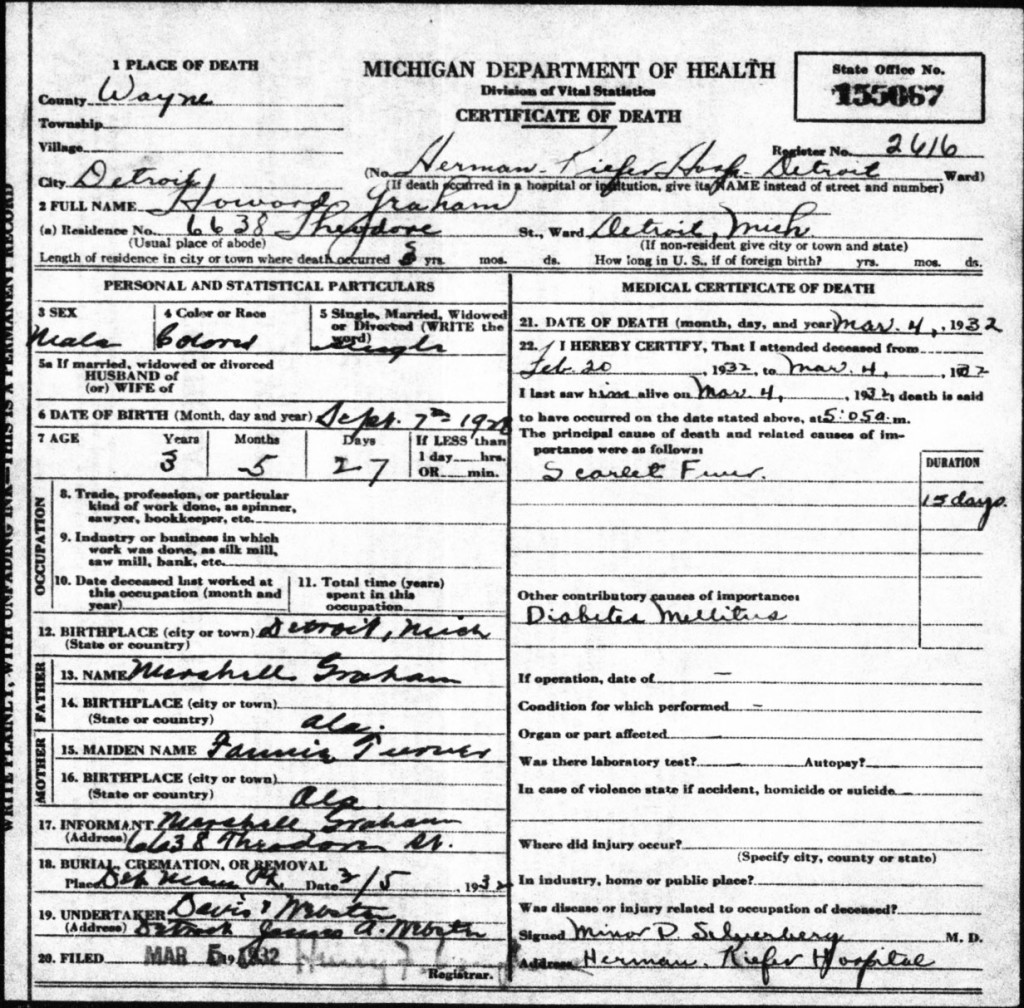 Howard Alexander Graham's death certificate