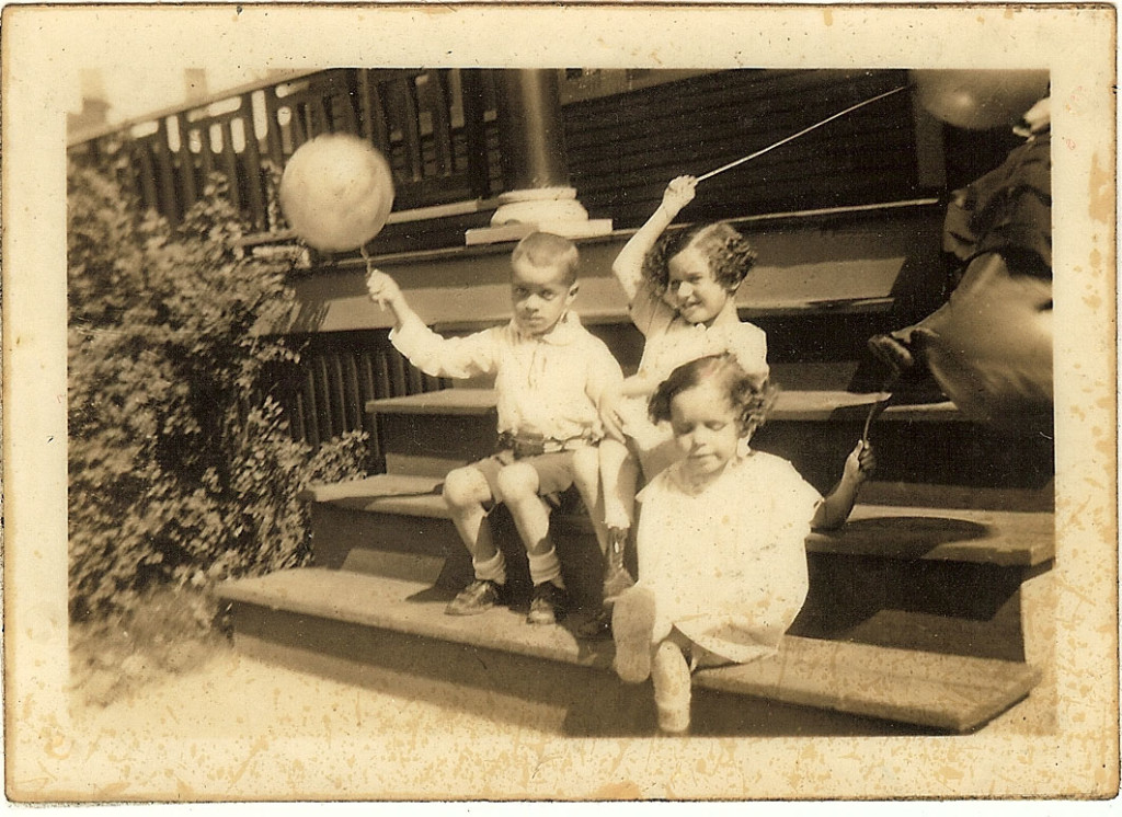 Mershell, Mary V. and Doris Graham on their front steps. 1926.