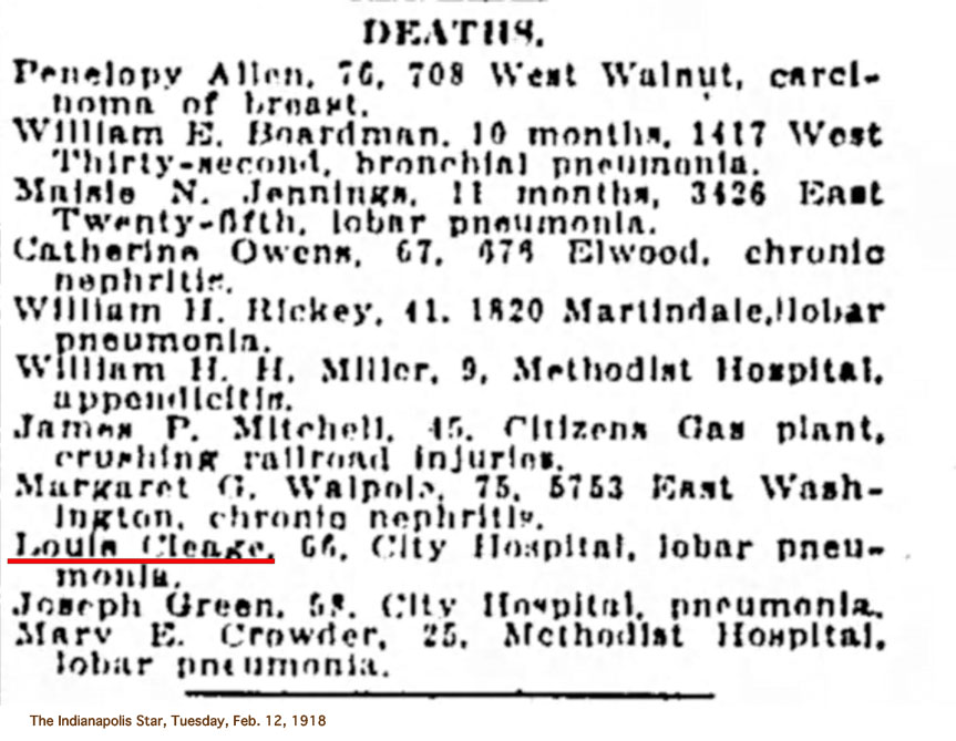 louis cleage death 1918