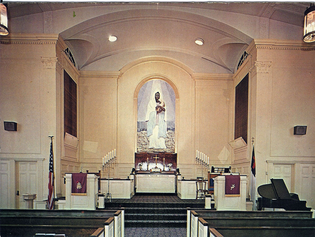 Black Madonna Christmas Card from 1967 showing the sanctuary with the mural painted by earlier that year by Glaton Dowdell.