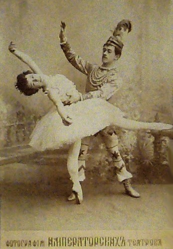 Olga Preobrazhenskaya as the Sugar Plum Fairy and Nikolai Legat as Prince Coqueluche in the Grand pas de deux in the original production of The Nutcracker. Imperial Mariinsky Theatre, St. Petersburg, c. 1900