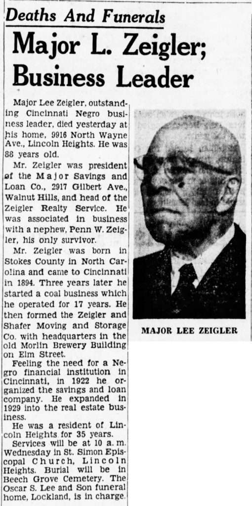 The Cincinnati Enquirer - Monday April 11 1960. Major Lee Zeigler's obituary