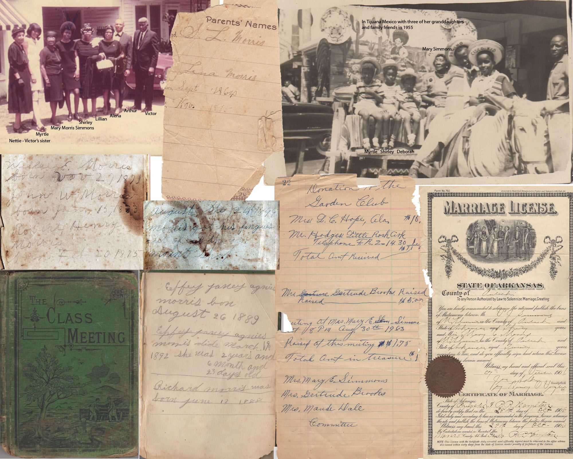 Pages from the green book, notes and photographs.